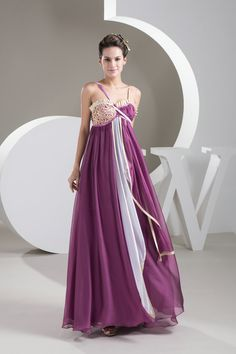 Hottest Styles A Line Chiffon Long Purple Prom Dresses with Straps £125