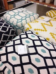 Threshold poufs at Target, navy and white pour, yellow and white pouf, geometric poufs