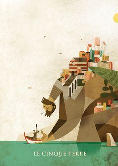 Le Cinque Terre by Riccardo Guasco (via Behance).