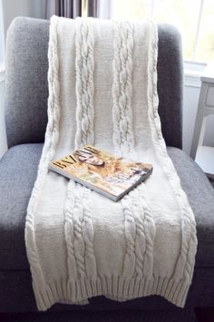 Cream Blanket Throw Chunky Cable Knit