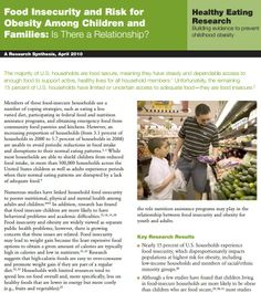 Food Insecurity and Risk for  Obesity Among Children and  Families: Is There a Relationship?