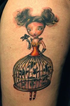 Bird cage girl tattoo