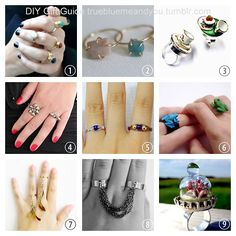 2013 True Blue Me & You DIY Gift Guide: Rings Part 1 #diy #crafts #diy_rings #jewelry #diy_jewelry #tutorial