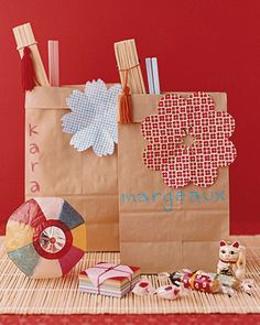 party favors, favor bags, brown paper bags, baby shower favors, party bags, paper flowers, party favours, kid parties, baby showers