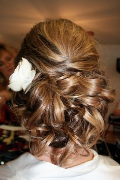 Hair, Updo, Flower, Chignon, Curls, Bun