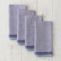 Ticking stripe napkin set in navy