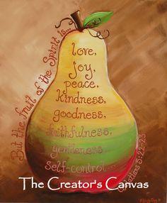 Fruit of the Spirit Original Painting Scripture Bible Verse Christian, Pear, Kitchen, Love, Joy, Peace