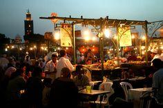 Food stalls on Dejemma el-Fna. Marrakech, Morocco