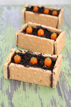 """carrot plant bedding boxes made from graham crackers, cookie """"dirt"""" and candy carrots..."""