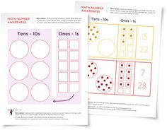 Free place value worksheets for young children. Learn place values for ones and tens.