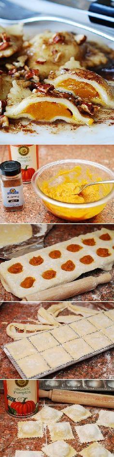 Pumpkin ravioli with brown butter sauce and pecans. | pumpkin recipes, pasta recipes