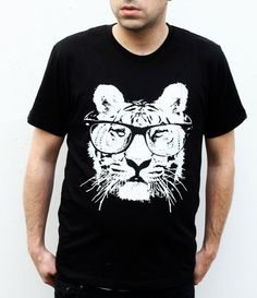 Mens Tiger Tee  Cat with Sunglasses Tshirt  Black by naturwrk, $19.00