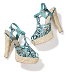 """Avon: mark Stand Back Heels.  Part strappy sandal, part espadrille, these hybrids are so totally hot, fashionistas will stand back... and stare! Snake-print faux leather upper, jute platform and heel. 1 1/4"""" platform, 5 1/4"""" heel.  Great for a night out!  Buy it now at www.KonaBeauty.com."""