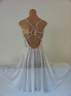 Lyrical Dance Costumes | White & Gold Lyrical Dress Dance Costume Stunning Back