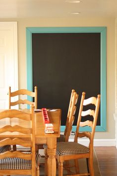 Large chalkboard in kitchen