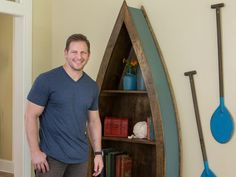 Nautical Bookshelf // 5 Cool Woodworking Projects from Blog Cabin 2014 >> http://blog.diynetwork.com/maderemade/2014/10/06/5-cool-woodworking-projects-from-diys-blog-cabin-2014/?soc=pinterest
