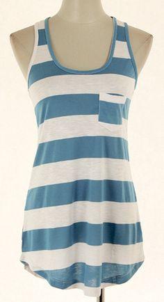 Blue & White Stripe Sleeveless Top