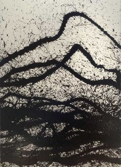 Fabienne Verdier. Energy Fields. Black ink on paper (Moulin du gué), 198 x 134 cm.