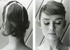 Audrey-style: ponytail with ribbon, side part with swept fringe.