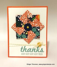 handmade thank you card by Ginger Toivonen ... card trick quilt look shape in great patterned papers ... prints resemble fabric prints ... like the circle center ...  big THANKS sentiment ... great card! ... Stampin' Up!