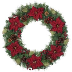 Martha Stewart Living™ 36 in. Burgundy Poinsettia Artificial Wreath available at The Home Depot