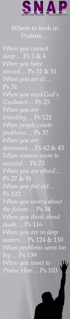 S.N.A.P.™ www.StopNowAndPray.com Where to look in Psalms….