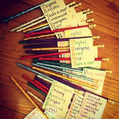 Goodbye gift from the TEACHER: index cards, pencils, and a word for every letter in a child's name.