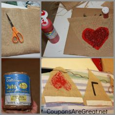 Make a LOVE Banner using burlap.  #love #valentinesday #craft