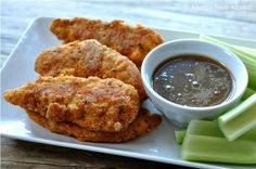 Easy Baked Paleo Chicken Tenders with Honey Mustard Dipping Sauce