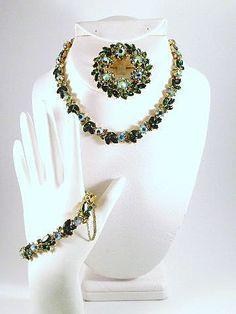 Vintage Green Crown Trifari Rhinestone Set by CharmedCollectibles, $200.00