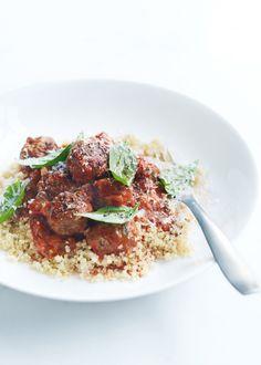 beef, oregano and tomato meatballs with quinoa.