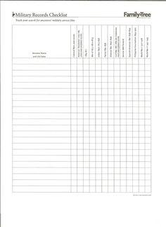 Military Records Checklist
