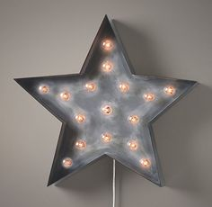 Nursery Decor/Lighting: Vintage Illuminated Star Weathered Metal (from rhbabyandchild.com, a Restoration Hardware site)