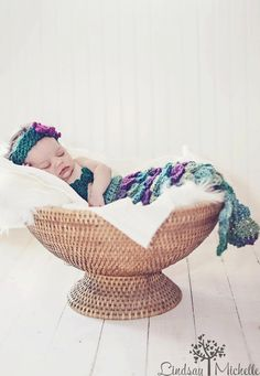 Crocheted Mermaid Newborn Photography Prop by HicksCouture on Etsy