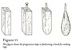 Work Through Time | An Illustrated Guide to Rughooking  Note from cee... I have my Mom's homemade hooks just like these but never knew how they were made