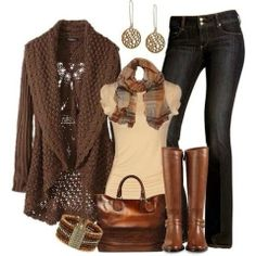 Dark tan cardigan, blouse, scarf, jeans, handbag and brown long boots for fall Fun and Fashion Blog, nix the sweater though...brown leather jacket instead?