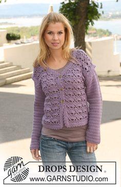 """Crochet DROPS jacket in """"Merino Extra Fine"""". Size S to XXXL. Free pattern."""