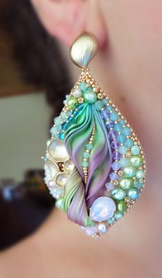 """Silk Leaf Earrings"" design by Serena Di Mercione  --- bead embroidery & shibori silk ribbon"