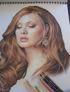 Adele in color pencil. ♥