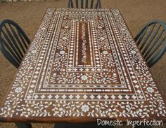 Indian Inlay style- STENCILED table!! #DIY kitchens, coffee tables, indian inlay, farmhouse table, kitchen tables, painted tables, indian style, patio tables, stencil