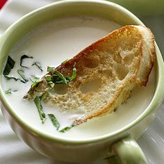 Creamy Brie Soup: White wine, cream, white wine vinegar, Brie and fresh herbs.