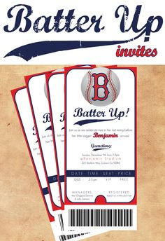 Baseball Birthday Invite tickets