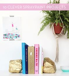 Gold spray-painted rock book ends.  Love it!