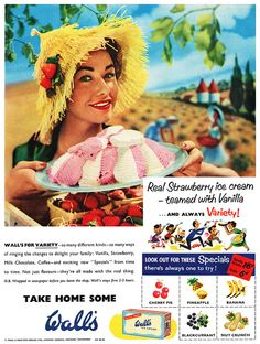 Love the vibrant hues, rustic setting, and delicious looking ice cream in this 1950s Wall's ad. #vintage #ad #food #1950s #ice_cream