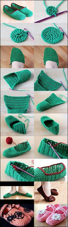 pantuflas ...DIY Simple Crochet Slippers