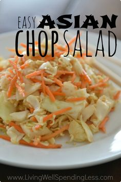Need a quick & easy meal idea for hot summer nights? This super delicious Asian Chop salad has a ton of flavor, crunch and uses just five easy ingredients.  Best of all, it comes together in just a few minutes!  Serve with grilled chicken or shrimp for an effortless meal your whole family will love!
