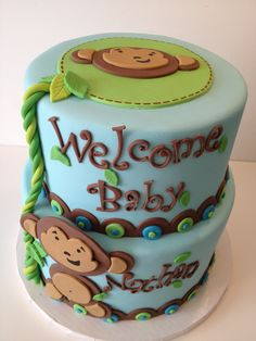 Monkey baby shower cake - Cute 2 tier monkey themed baby shower cake