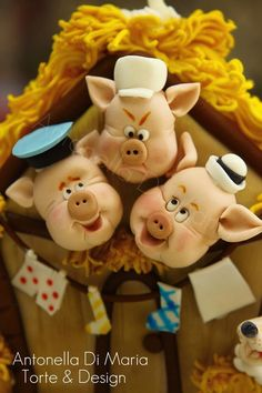 clays, fimo, fabl cake, cakes, three little pigs, polym clay, pastas, polymer clay, pig cake