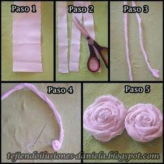 tejido crochet y artesanías: Flores de tela.