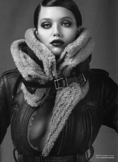 Emily Didonato   Numero August 2010   fur   luxe   leather   buckles   tight   topless   nude   warm   winter   stylish  